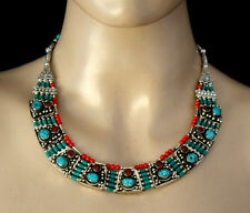 Ethnic Handmade Sterling Silver Necklace Tibetan Turquoise coral Tribal FB1