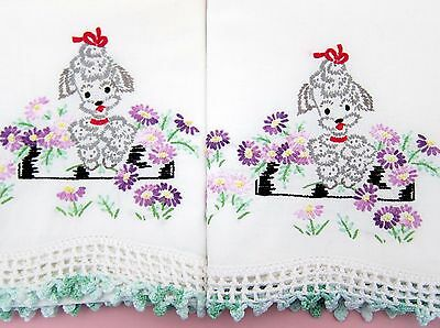 Pair Vintage Embroidered Cute Poodles w Bows Pillowcases