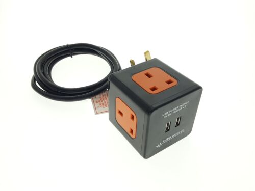 2 M 3 Way Extension Cube bloc avec 2 USB Sockets-Surge Protected montage mural