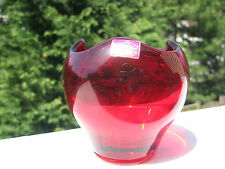 Vintage Viking Hand-Made Red Cranberry Glass  Vase