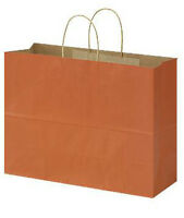 """100 Large Burnt Orange Paper Shopping Bag With Rope Handles 16"""" X 6"""" X 12"""""""