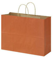 "100 Large Burnt Orange Paper Shopping Bag With Rope Handles 16"" X 6"" X 12"""