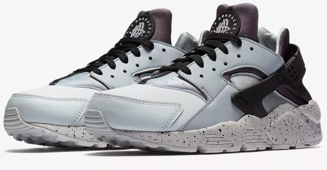 NIKE AIR HUARACHE RUN PREMIUM 704830 011 PURE PLATINUM BLACK WOLF GREY - SPECKLE