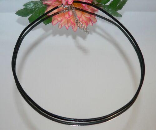 Cuero cadena collar 47 cm cadena real cuero de vaca 2mm Ø negro mosquetón s15b