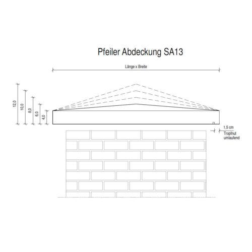 Pfeilerabdeckung SA13 Höhe 4-8 cm Naturstein Sandstein gelb Mauerabdeckung