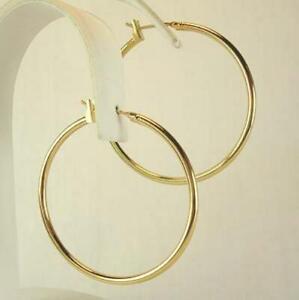 1-3-8-Inch-Hoop-Earrings-In-18K-Gold-Plated-2-Mm-Wide-LIFETIME-WARRANTY