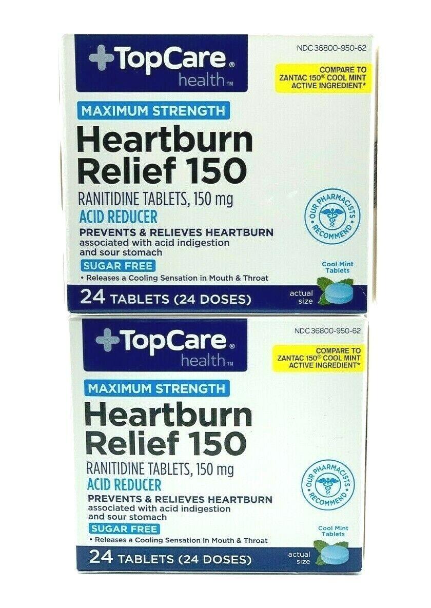 2x RANITIDIN* Heartburn & Acid Reducer 150mg Maximum Strength 48 Mint Tablets 1
