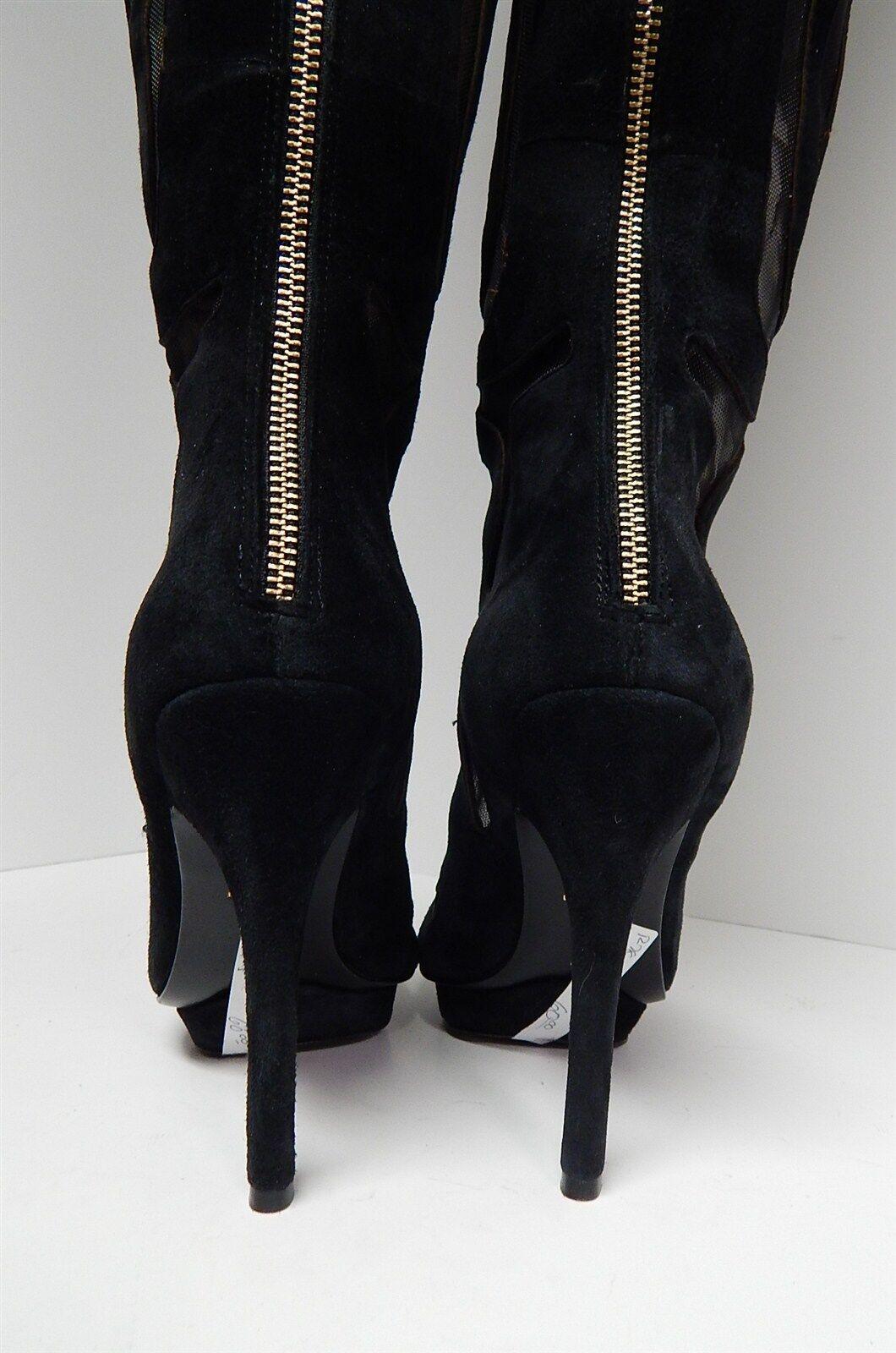 Charles Jourdan Black Suede Leather Cut Out Thigh High Tall Tall Tall Fashion Boots 7 M 269e95