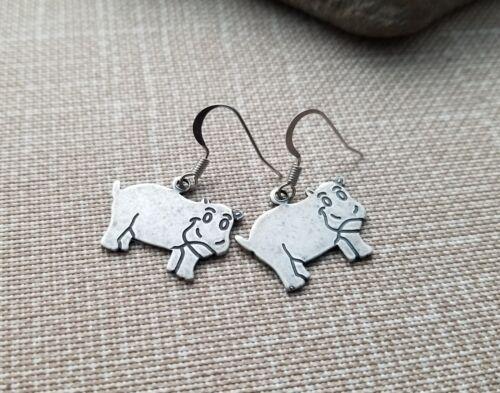 Handmade HIppo Hippopotamus Earrings