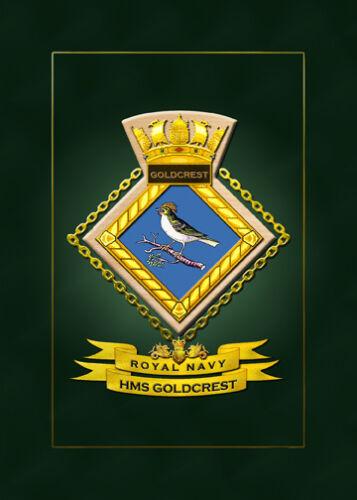 HUNDREDS OF HM SHIPS IN STOCK HMS GOLDCREST FRAMED SHIPS CRESTS