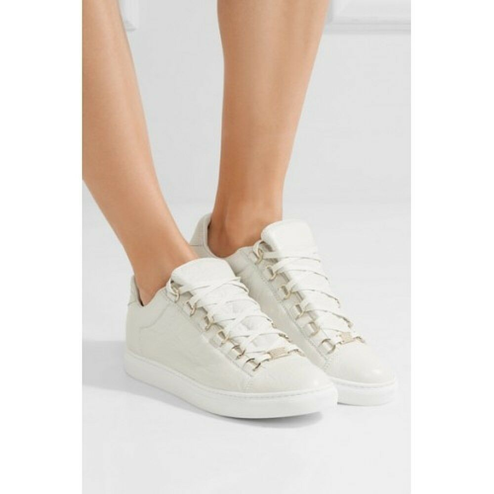 Balenciaga Crinkled Leather Leather Leather Lace-Up Turnschuhe Weiß MSRP   595.00 Größe 42 13248a