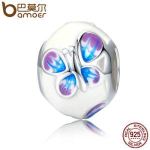 Candide Bamoer Solid 925 Sterling Silver Charm Bead Papillon Avec émail Fit Bracelet-afficher Le Titre D'origine Une Grande VariéTé De Marchandises