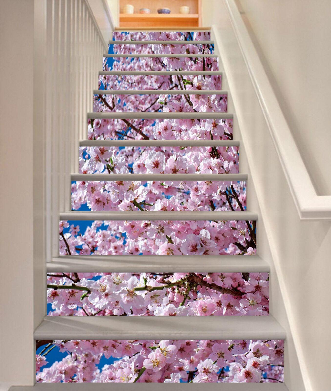 3D Pfirsichblte 30 Stair Risers Dekoration Fototapete Vinyl Aufkleber Tapete DE