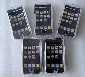 Pack-of-5-Transparent-Crystal-Cases-with-Screen-Protector-for-Apple-iPhone-2G