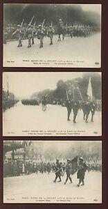 France-PARIS-Revue-du-14-juillet-1918-x5-unused-PPCs