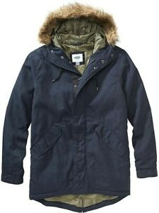 OLD-NAVY-Mens-Long-Hooded-Canvas-Fur-Trim-Winter-Coat-Jacket-Large-Tall-LT-Blue
