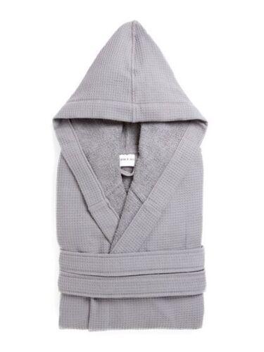 New Stone /& Aster Waffle Hooded Grey Unisex Kimono Bath Robe Size S-M