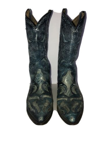 Rudel Mens Mule's Ear Cowboy Boots With Embroidery