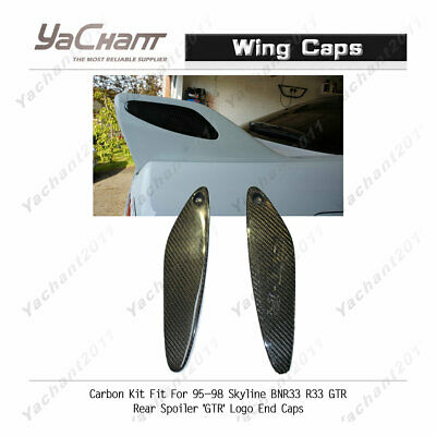 Carbon Kit Fit For 95-98 Skyline BNR33 R33 GTR Rear Spoiler /'GTR/' Logo End Caps