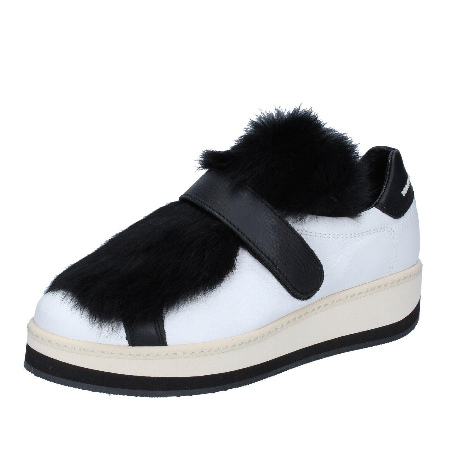 Scarpe donna MANUEL BARCELO 40 EU scarpe da ginnastica nero bianco pelle BS330-40