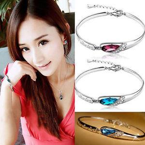 NEW-Fashion-Women-Silver-Plated-Crystal-Chain-Bangle-Cuff-Charm-Bracelet-Jewelry