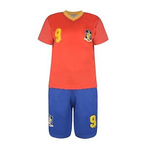 BOYS FOOTBALL KIT SHORT SET SPAIN RED/BLUE 2-10years BNWT #ESPAGNE
