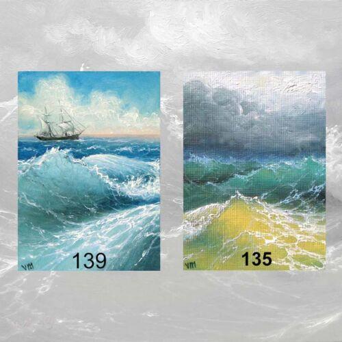 LOT #19 of 2 ACEO ART PRINTS SEASCAPE WAVES STORM SEA SHIP PACIFIC OCEAN