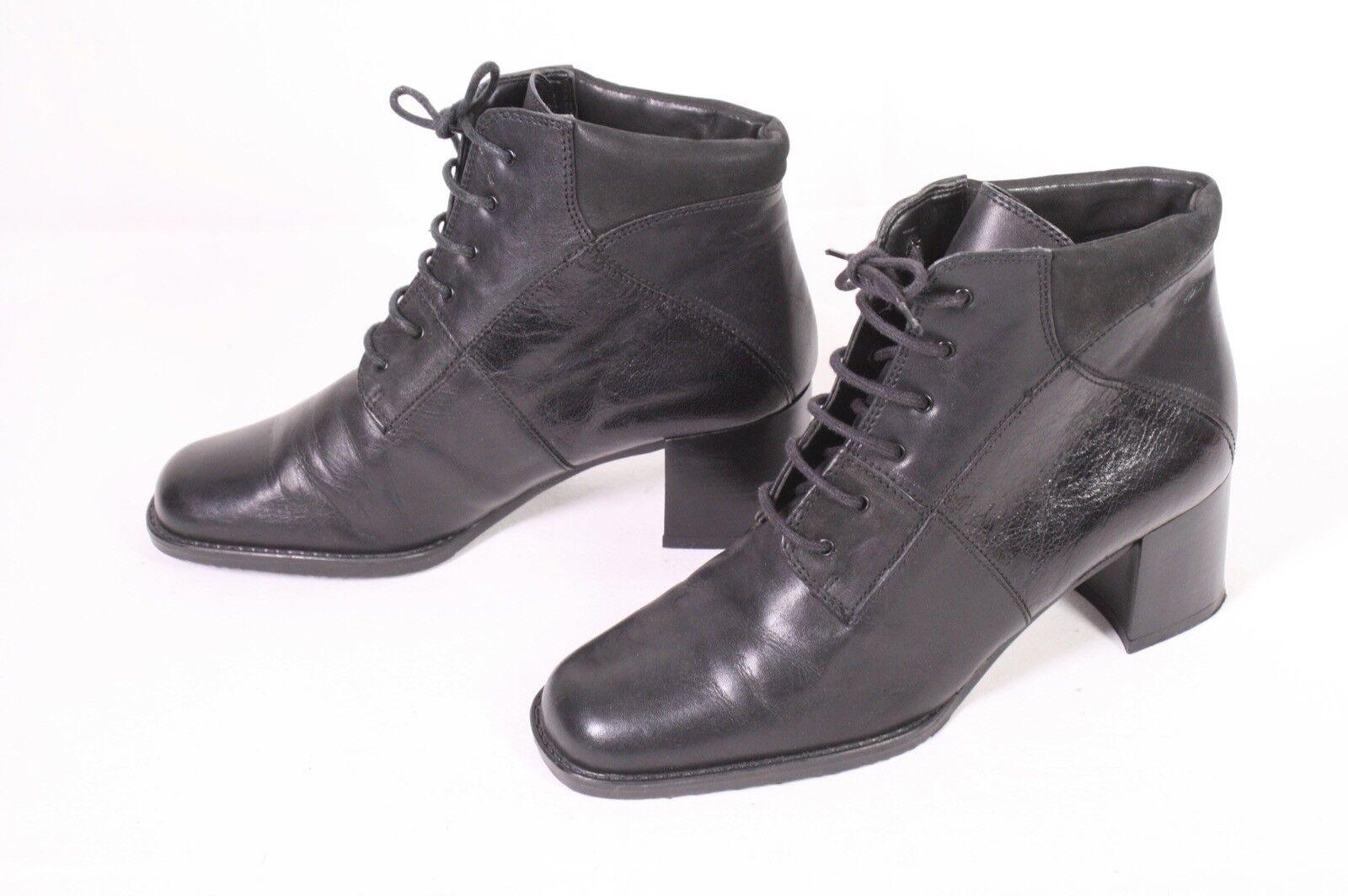 31D 5th Avenue Schnürstiefel Booties Gr. 37 Leder black Blockabsatz Vintage