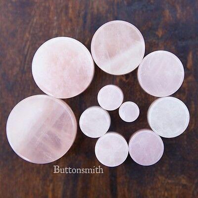 "Pair of Pink Rose Quartz Stone Plugs gauges ear lobe pireced 8g to 1"" - 13 sizes"