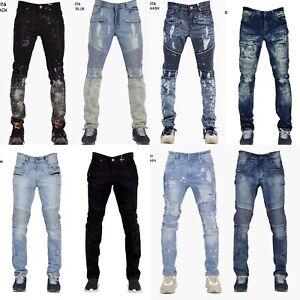 Men-039-s-Denim-Strappato-Destroyed-Jeans-Slim-Fit-Stile-Biker