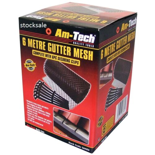 6M GUTTER MESH WITH 6 CLIP ROOF GUTTERING GUARD COVER TO STOP LEAF /& DEBRIS CLOG