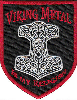A1701 Patch Aufnäher Thorhammer Odin Thor Loki Wotan Viking Metal is My Religion