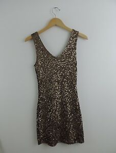 New-Women-039-s-Amber-Blue-Gold-Sequin-Vneck-Dress-Size-Medium-NWT