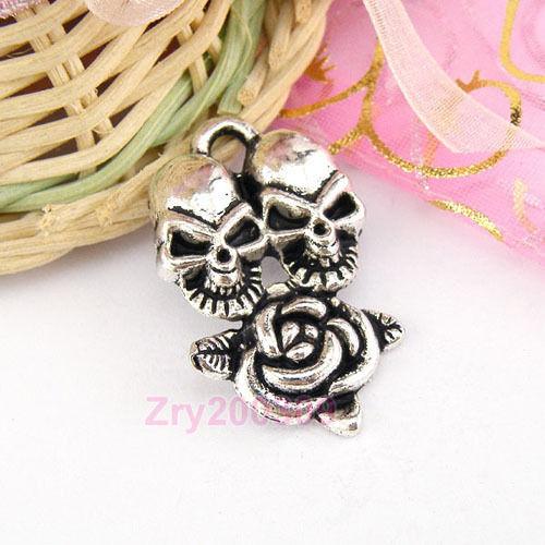 6Pcs Tibetan Silver Skull Rose Flower Charms Pendants 21x34.5mm KA341