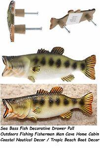 Coastal Nautical Decor / Beach Boat Man Cave Decor Sea Bass Fish Drawer Handle