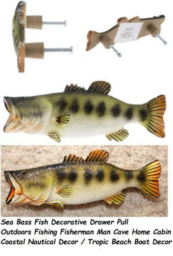 Bass Fish cabinet door drawer knob pull handle Nautical Boat Man Cave Decor