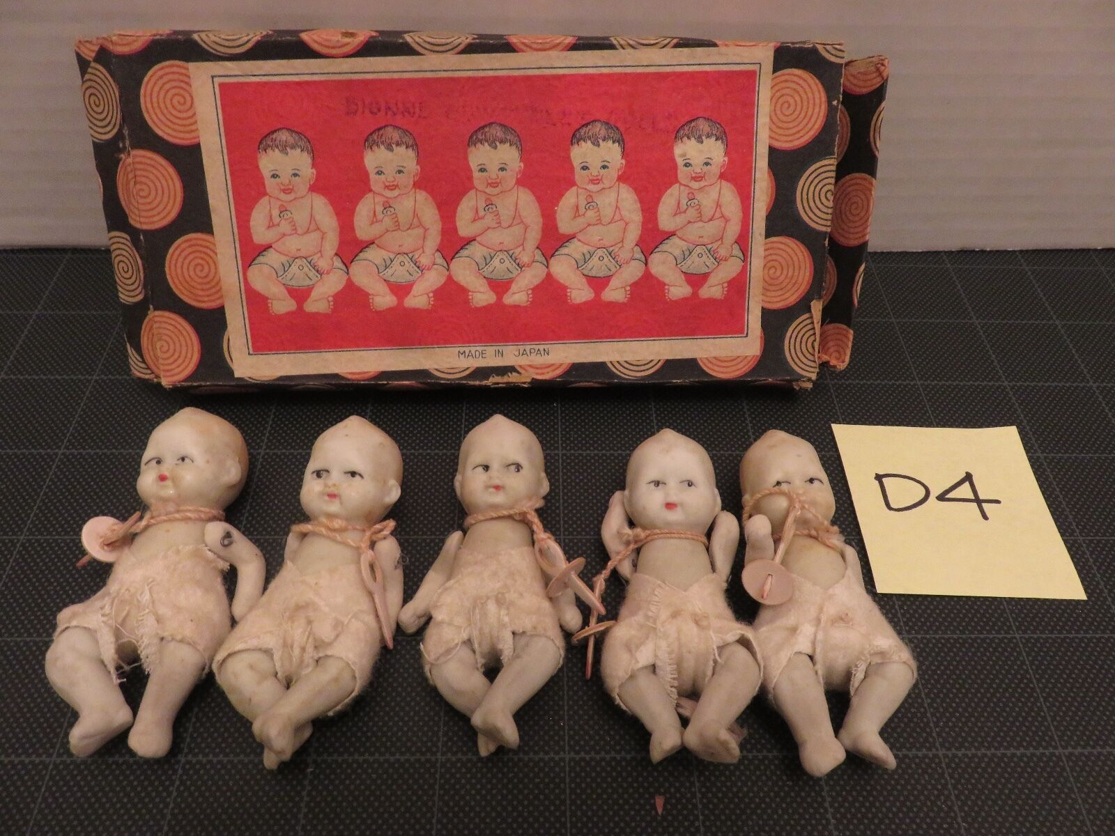 Bisque Porcelain Jointed Quintuplet Dolls Made in Japan Original Box D4 Arm Move