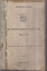 INDIA - THE REVENUE STANDING ORDERS , 1948 GOVERNMENT OF JAIPUR - PAGES 162