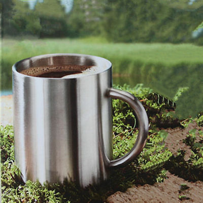Double Wall Polished Stainless Steel COFFEE CUP Beverage Hot Tea Mug