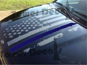 Reflective Thin Blue Line Flag Decal 3x5 In American Usa Flag Decal Classic Biker Gear