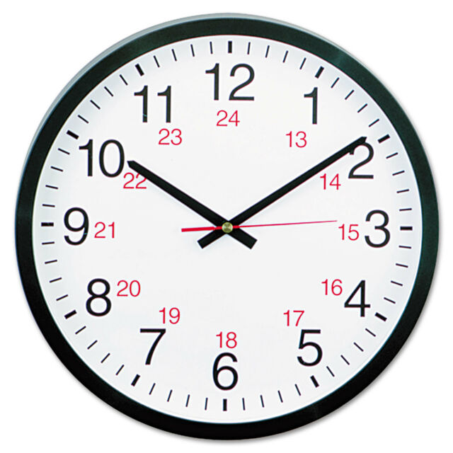 "UNIVERSAL 24-Hour Round Wall Clock 12 5/8"" Black 10441"