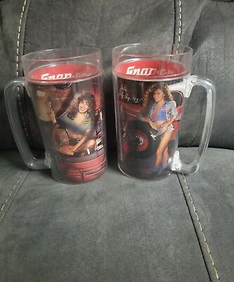 Mugs & Cups Snap On Tools Calendar Girls Plastic Tumblers Mugs Vintage 1992 Set Of 2