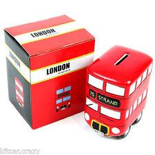 CERAMIC RED LONDON BUS MONEY BOX , COLLECTABLE, BRITISH SOUVENIRS