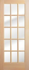 Details About 1 Lite  10  Or 15 Lite Stain Grade Pine Solid Wood French  Doors Slabs Or Prehung