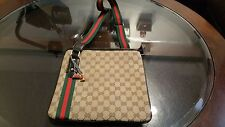Vintage Gucci Messenger Bag Shoulder Bag Brown With Red & Green webbing Strap