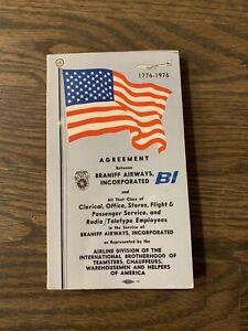 RARE? Braniff Airways Union Agreement Flight Attendants Teamsters 1976