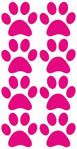 40 HOT PINK  Paw print  cat dog vinyl stickers decals car fridge laptop walls