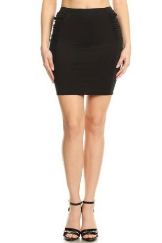 Pencil skirt mini skirt ruffled sides cocktail slimming stretch solid black