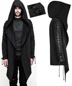 Asymmetrisch Kapuzen Jacke Hoodie Gothic Punk Mode Schnürung Leder Punkrave Mann