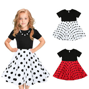 1cf1af6c2669 Kids Girls Child Vintage Dress Polka Dot Princess Swing Rockabilly ...